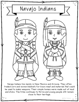 Navajo Indians Coloring Page Craft and Poster, Native American Tribes