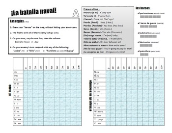 Naval Battle Spanish game (FREEBIE)