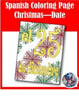 Navidad - Christmas Date Spanish Adult Coloring Page
