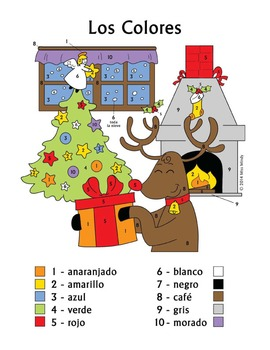Navidad - Los Colores Spanish Christmas Colors Color by Number Worksheet