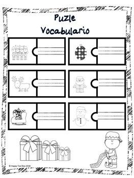 Christmas Puzzles Vocabulary (Spanish)