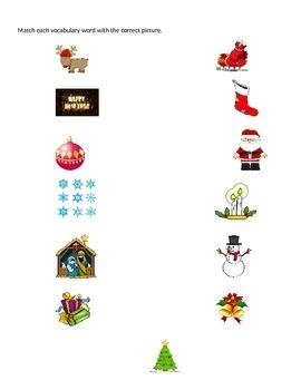 Navidad Spanish Easy Filler Activities Vocab Word Search, Word Jumble, Matching
