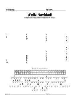 Navidad Spanish Easy Filler Activities Vocab Word Search, Word Jumble, Matching
