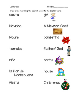 Navidad Vocabulary Matching - Christmas Spanish Lesson