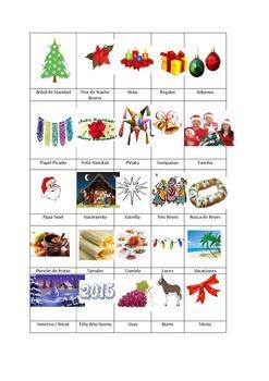 Navidad BINGO with Pictures.  BINGO de Navidad con Dibujos