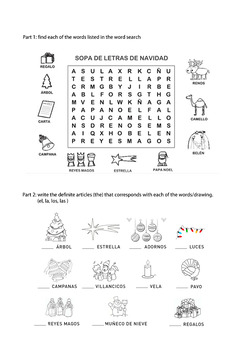 Spanish Christmas Activities x2  Word Search + Focusing on Articles
