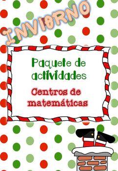 Navidad: centros de matemáticas / Christmas packet NO PREP Spanish 1st grade