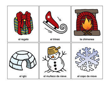 Navidad y Invierno - Spanish Christmas and Winter Flash Cards & Memory Game