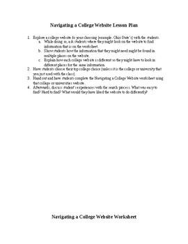 Navigating a College Website Lesson Plan & Worksheet