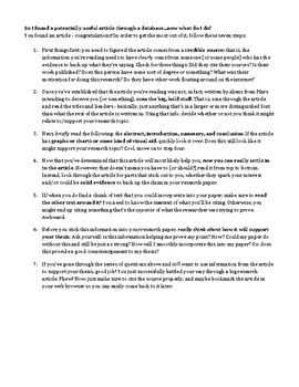 Navigating the Academic Article: A Handout for High School Students