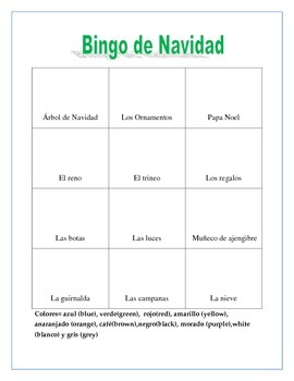 La Navidad. Christmas Color Bingo Game. Gender/Noun Practice .Spanish