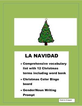 La Navidad. Christmas Color Bingo Game. Gender/Noun Practi