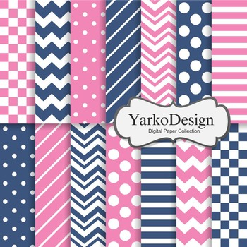 Navy And Pink Basic Geometric Digital Paper Set, 14 Digital Paper Sheets