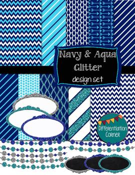 Navy & Aqua GLITTER Design Set digital paper banners and labels