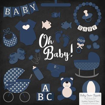 Oh Baby Clipart & Vectors Set in Navy