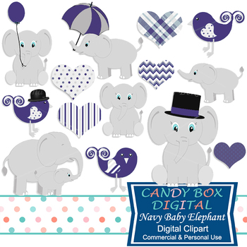Navy Baby Elephant Clip Art, Baby Boy Shower Clip Art