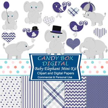 Navy Baby Elephant Mini-Kit with Clip Art and DIgital Papers