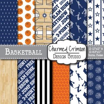 Navy Basketball Digital Paper 1276