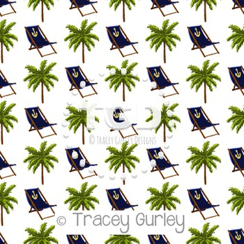 Navy Beach Chair and Palm Tree Pattern on White digital pa