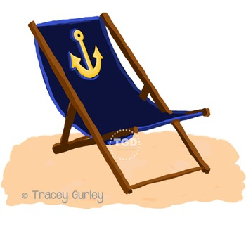 Navy Beach Chair with Anchor - with and without Sand Printable Tracey Gurley