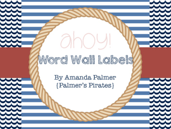 Navy, Black, Red Nautical Word Wall Labels