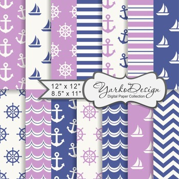 Navy Blue And Lilac Nautical Digital Paper Pack, Geometric, 14 Sheets