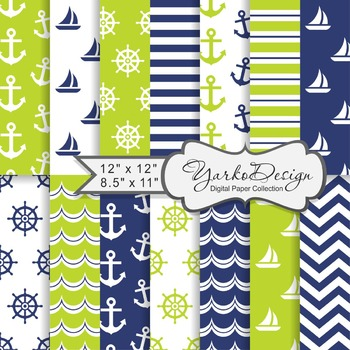 Navy Blue And Lime Green Nautical Digital Paper Pack, Geometric, 14 Sheets