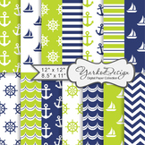 Navy Blue And Lime Green Nautical Digital Paper Pack, Geom