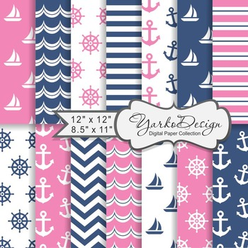 Navy Blue And Pink Nautical Digital Paper Pack, Geometric, 14 Sheets