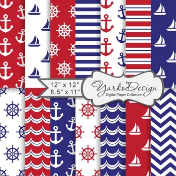 Navy Blue And Red Nautical Digital Paper Pack, Geometric, 14 Sheets
