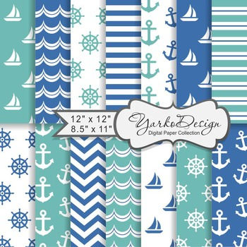 Navy Blue And Turquoise Nautical Digital Paper Pack, Geometric, 14 Sheets