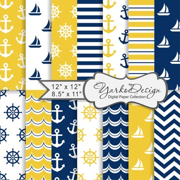 Navy Blue And Yellow Nautical Digital Paper Pack, Geometric, 14 Sheets
