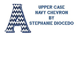 Navy Blue Chevron Bulletin Board Letters (Uppercase only)