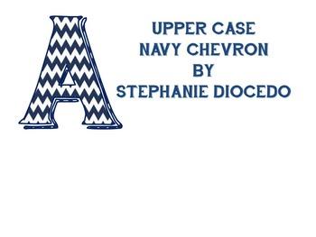 Navy Blue Chevron Bulletin Board Letters (Uppercase only)