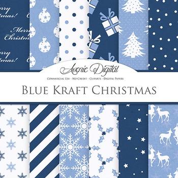 Navy Blue Christmas Digital Paper patterns - flower light blue backgrounds
