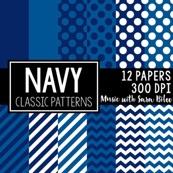 Navy Blue Classic Designs- 12 Digital Papers