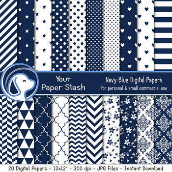 Navy Blue Digital Papers & Backgrounds w/ Stripes Stars Polka Dot & Chevrons