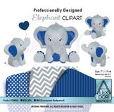 Navy Blue Elephant Clipart
