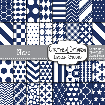 Navy Blue Geometric Basic Digital Paper 1142