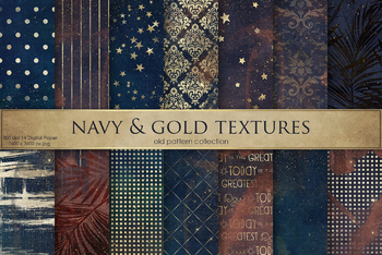 Navy Blue & Gold Textures