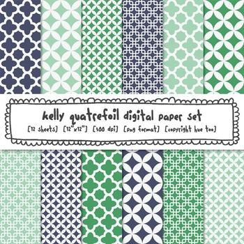 Navy Blue Green Aqua And Turquoise Quatrefoil Patterns Digital Paper Set