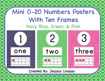 Navy Blue, Green, and Pink 0-20 Numbers Posters With Ten Frames