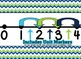 Navy Blue, Green and Turquoise Chevron Themed number line 0-100