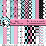 1950s Retro Sock Hop Digital Papers & Backgrounds for Scho