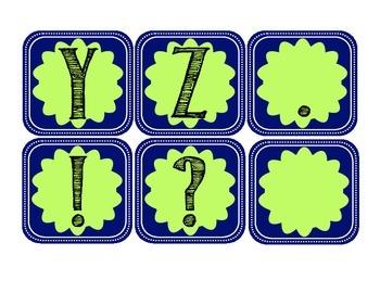 Navy Blue Mint Green Alphabet