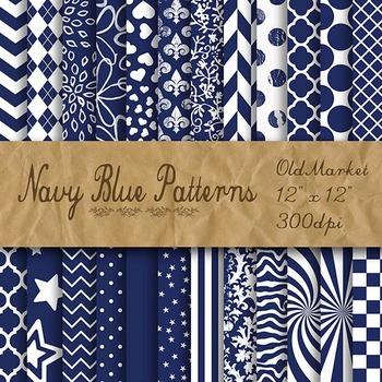 Navy Blue Pattern Designs - Digital Paper Pack - 24 Different Papers - 12 x 12