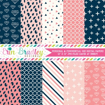 Navy Blue & Pink Diamond Digital Papers