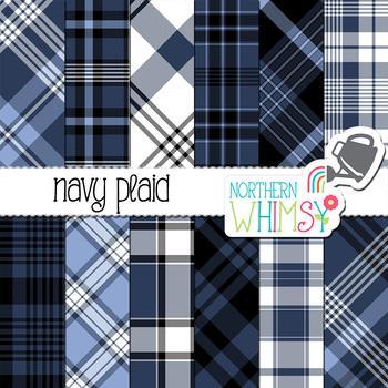 Navy Blue Plaid Digital Paper