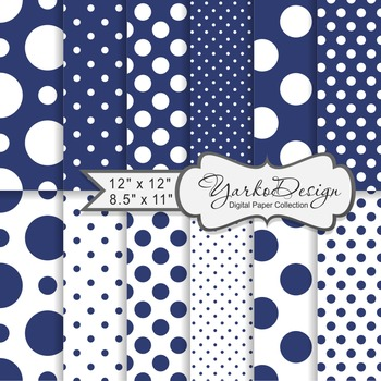 Navy Blue Polka Dot Digital Scrapbooking Paper Set, 12 Digital Paper Sheets
