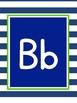 Navy Blue Striped Alphabet